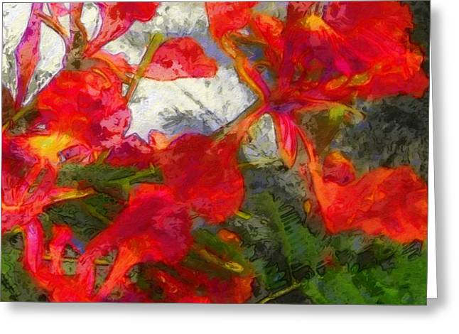 Textured Flamboyant Flowers - Square Greeting Card