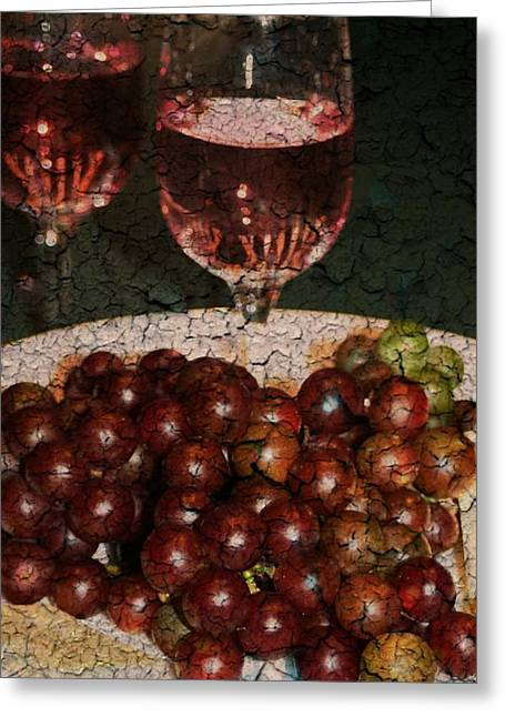 Textured Grapes Greeting Card by Barbara S Nickerson