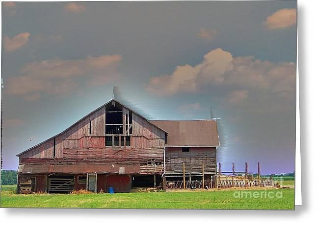 Greeting Card featuring the photograph Textured - Grey Barn by Gena Weiser