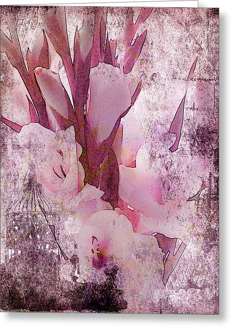 Greeting Card featuring the photograph Textured Pink Gladiolas by Sandra Foster