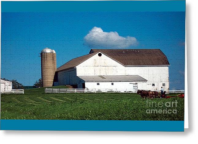 Greeting Card featuring the photograph Textured - Plowing The Field by Gena Weiser