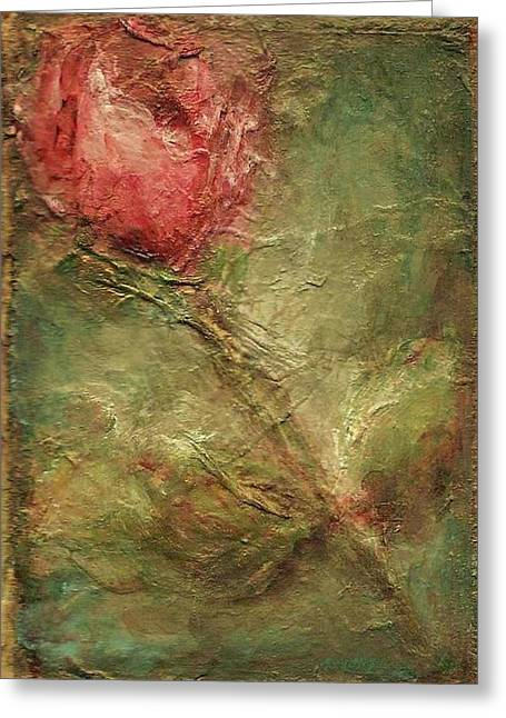 Greeting Card featuring the painting Textured Rose Art by Mary Wolf
