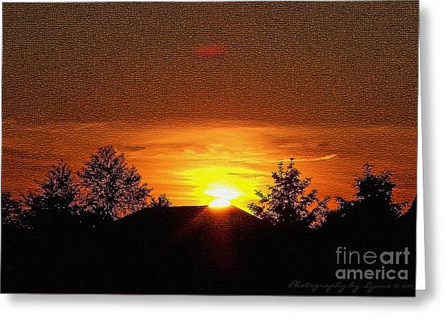 Greeting Card featuring the photograph Textured Rural Sunset by Gena Weiser