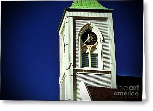 Greeting Card featuring the photograph Textured Steeple Clock by Gena Weiser