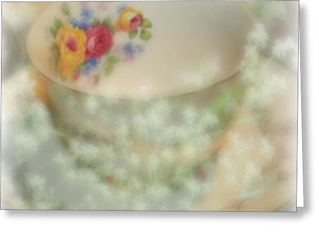 Textured Tea Cup Greeting Card by Barbara S Nickerson