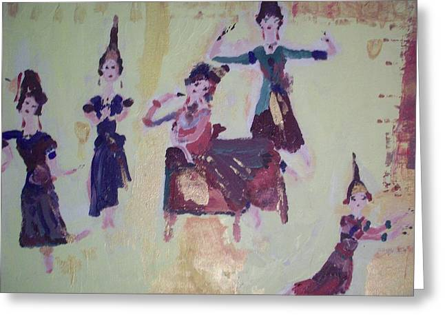 Greeting Card featuring the painting Thai Dance by Judith Desrosiers