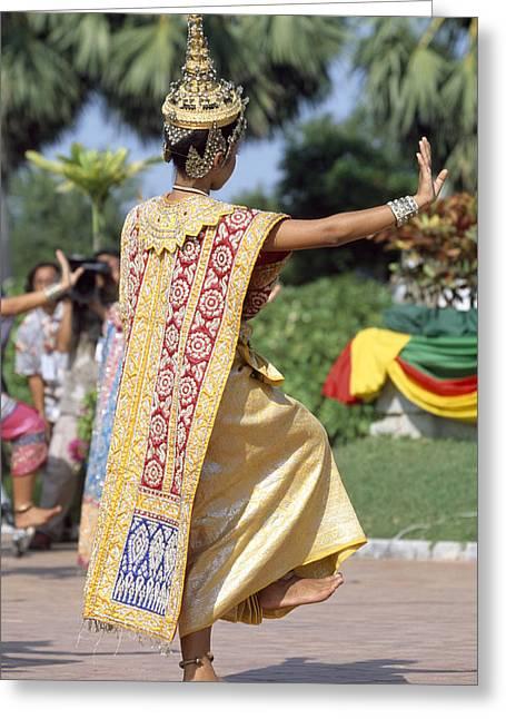 Thai Dancer At Loy Krathong Festival Greeting Card by Richard Berry