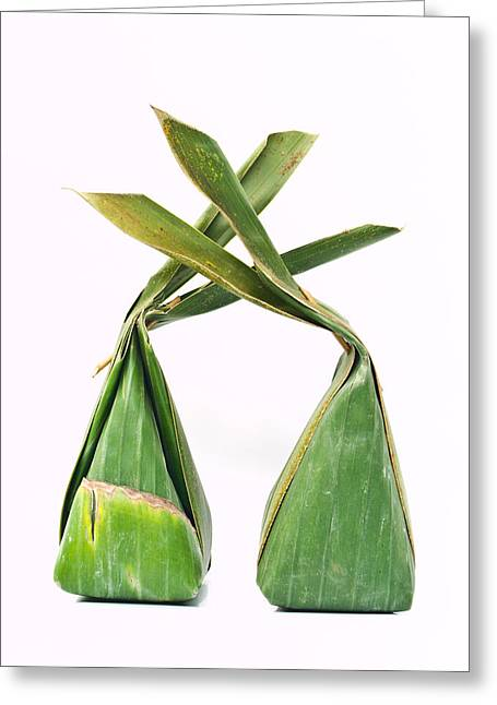 Thai Dessert Packages Made From Banana Leaves  Greeting Card by Ammar Mas-oo-di