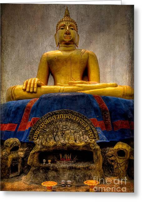 Thai Golden Buddha Greeting Card by Adrian Evans