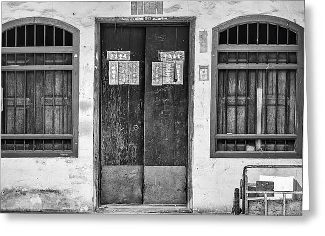 Thai House In Black And White Greeting Card