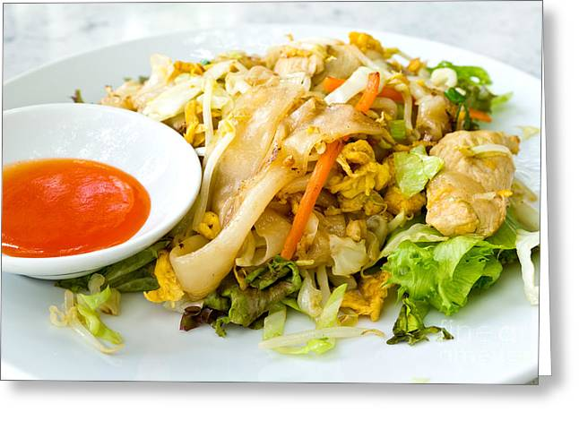 Thai Style Noodles With Vegetables And Chicken  Greeting Card by Tosporn Preede