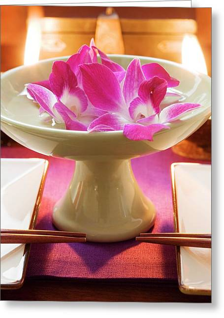 Thai Table Decoration: Orchids In Bowl Of Water Greeting Card