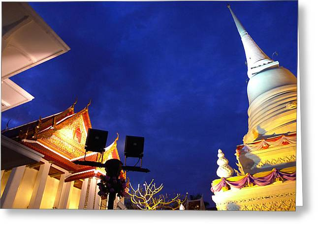Thai Temple Sunset Greeting Card