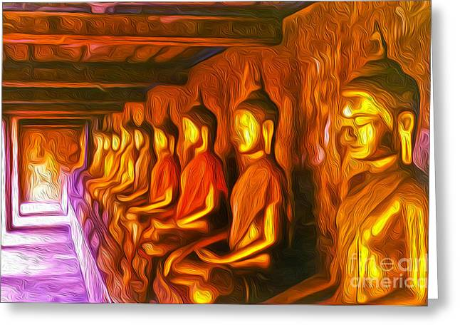 Thailand Buddhas Greeting Card by Gregory Dyer