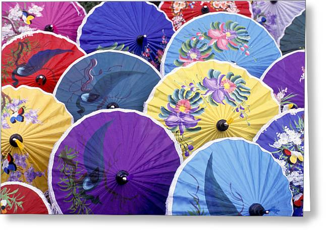 Thailand. Chiang Mai Region. Umbrellas Greeting Card by Anonymous