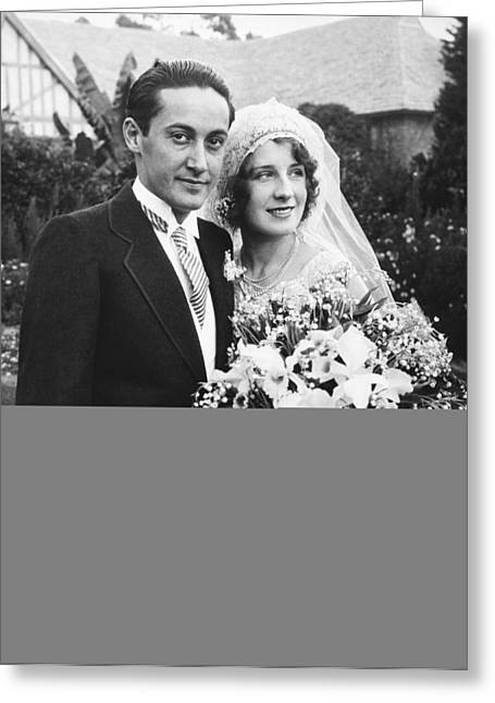 Thalberg And Shearer Wedding Greeting Card by Underwood Archives