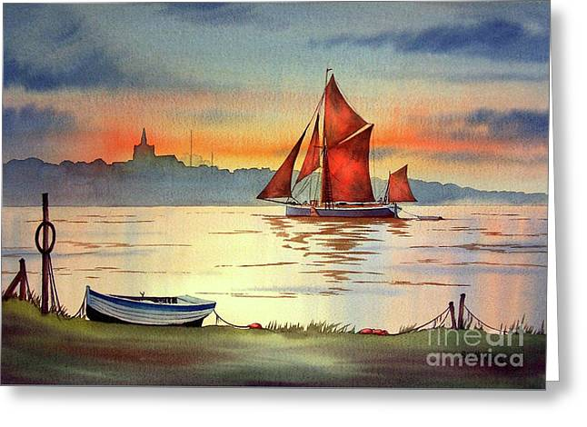 Thames Barge At Maldon Essex Greeting Card