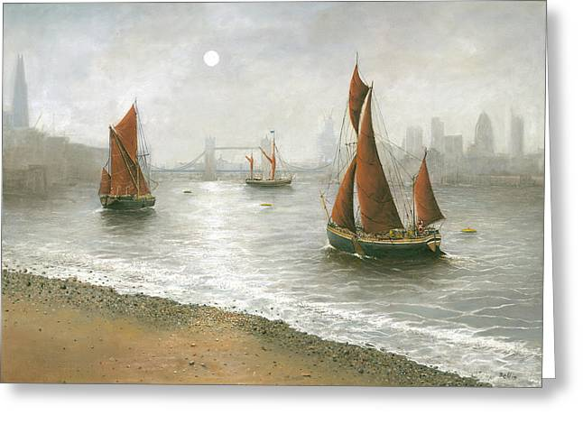 Thames Barges By Tower Bridge London Greeting Card by Eric Bellis