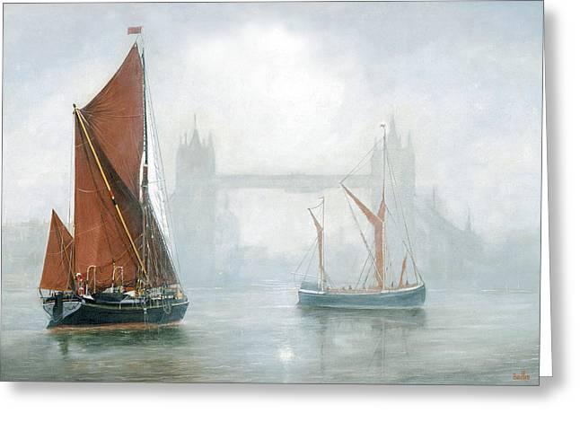 Thames Barges In Morning Mist Greeting Card by Eric Bellis
