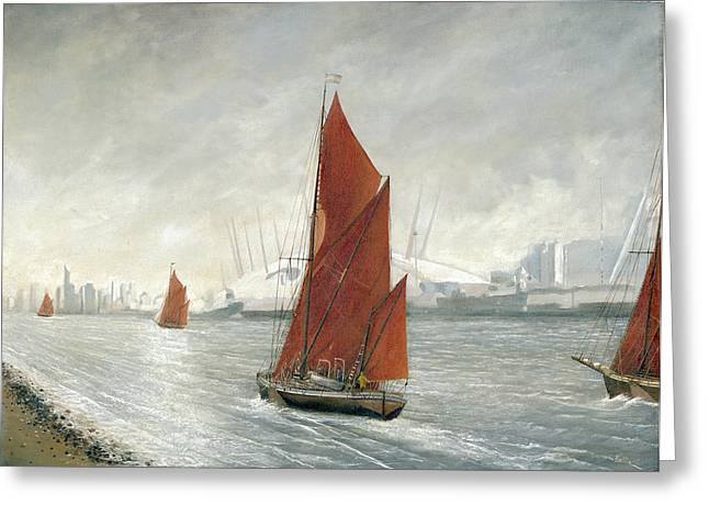 Thames Barges Passing The 02 Arena London Greeting Card by Eric Bellis