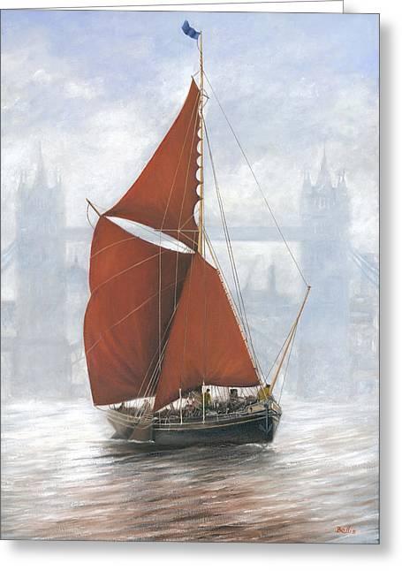 Thames Sailing Barge By Tower Bridge London Greeting Card by Eric Bellis