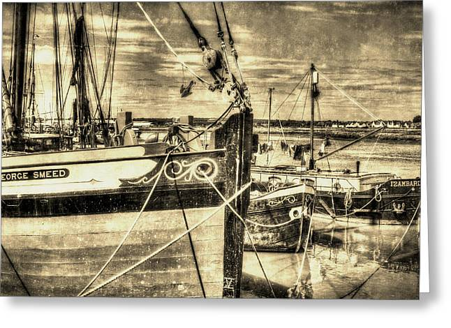 Thames Sailing Barges Vintage Greeting Card