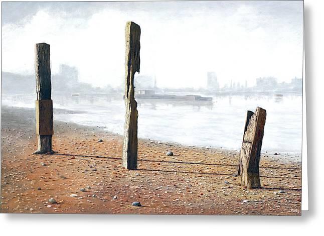 Thames Sentinels Greeting Card by Eric Bellis