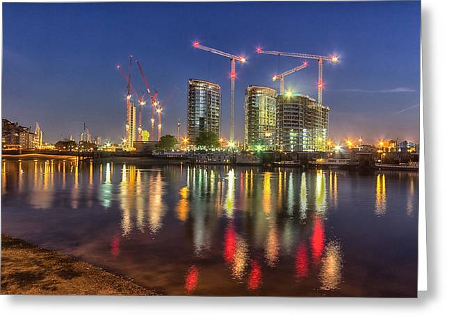 Thames View At Twilight Greeting Card by Ian Hufton