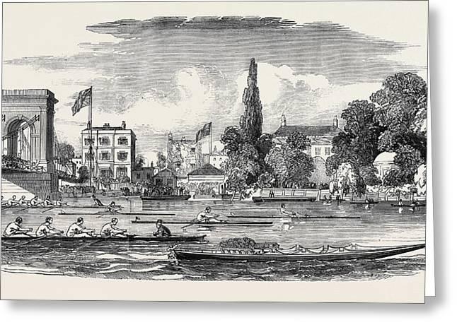 Thames Watermens Regatta, The Chancellors Greeting Card by English School