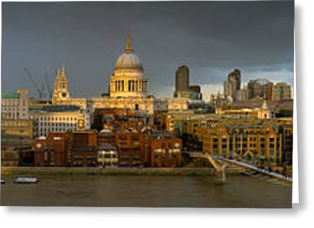 Thames With St Paul's Panorama Greeting Card