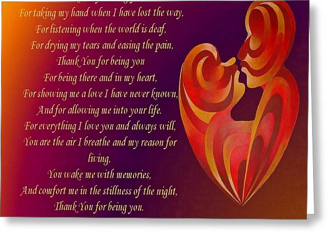 Thank You For Being You Poetry  Greeting Card by Tracey Harrington-Simpson