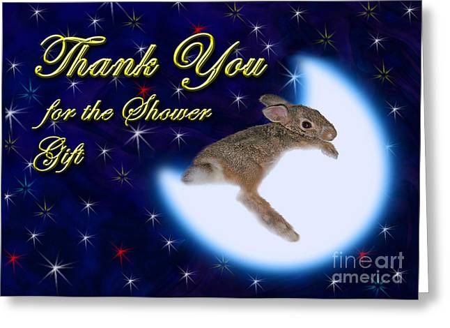 Thank You For The Shower Gift Bunny Rabbit Greeting Card