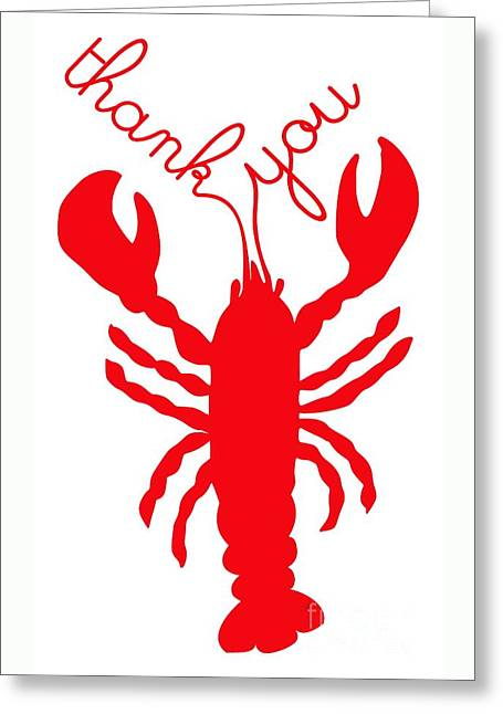 Thank You Lobster With Feelers Greeting Card by Julie Knapp