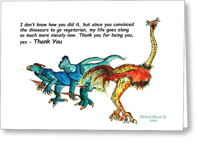 Dinosaur Thank You Card Greeting Card by Michael Shone SR