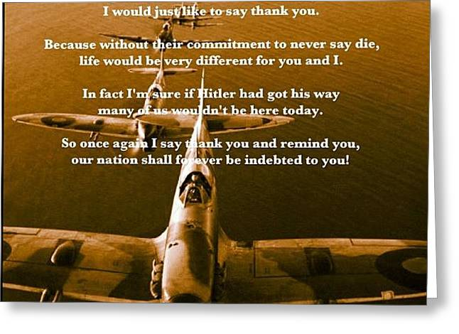 Thank You To The Spitfire Crew Greeting Card