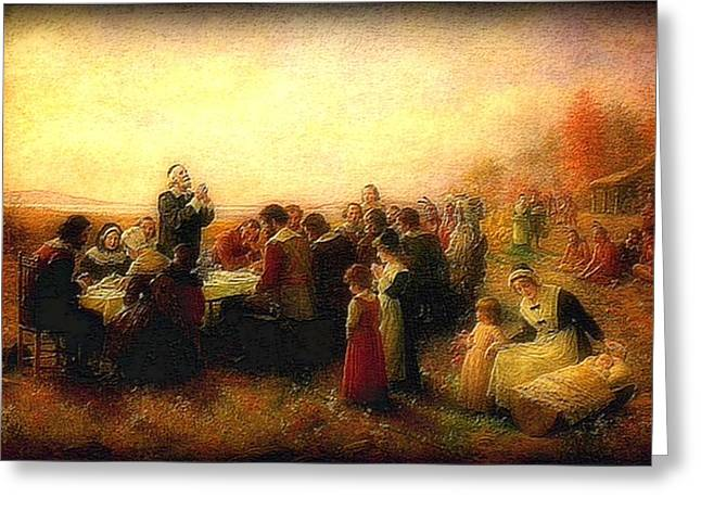 Thanksgiving Grace Outdoors 300 Years Ago Greeting Card by L Brown