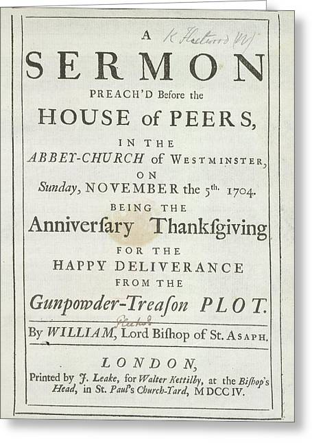 Thanksgiving Sermon Greeting Card by British Library