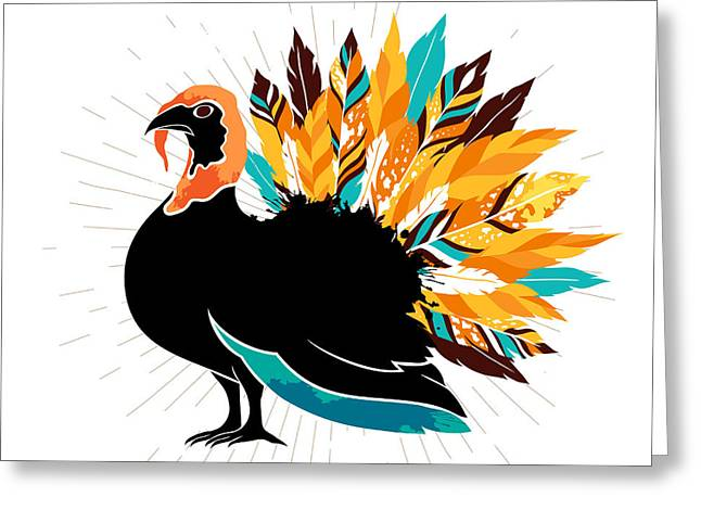 Thanksgiving Turkey With Feathers And Greeting Card