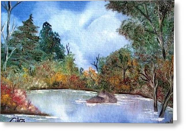 That Emerald Place Of Natures Beauty At Looking Glass Pond Greeting Card by The GYPSY And DEBBIE