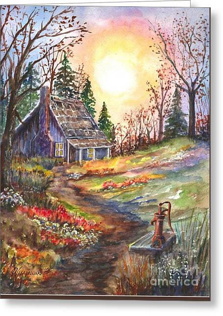 That Old Cabin In The Woods Greeting Card by Carol Wisniewski
