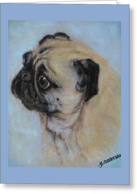 Pug's Worried Look Greeting Card by Harriett Masterson