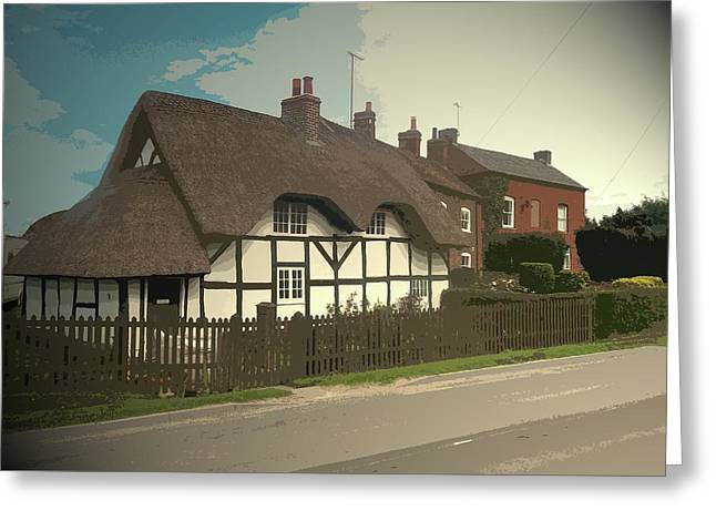 Thatch Cottage,  Coton In The Clay, Perfectly Presented Greeting Card by Litz Collection