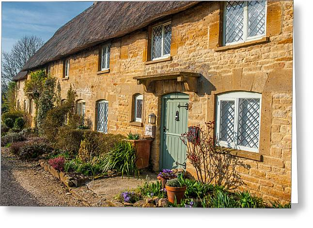 Thatched Cotswold Cottage In Taynton Oxfordshire Greeting Card by David Ross