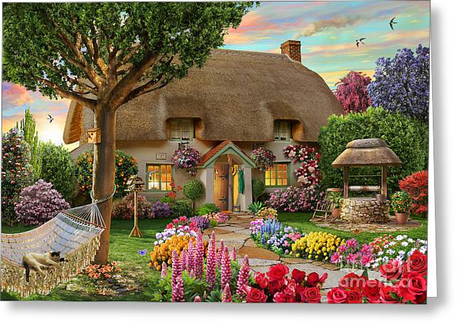 Thatched Cottage Greeting Card by Adrian Chesterman