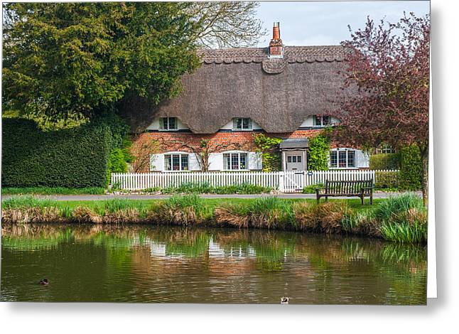 Thatched Cottage Crawley Hampshire Greeting Card by David Ross