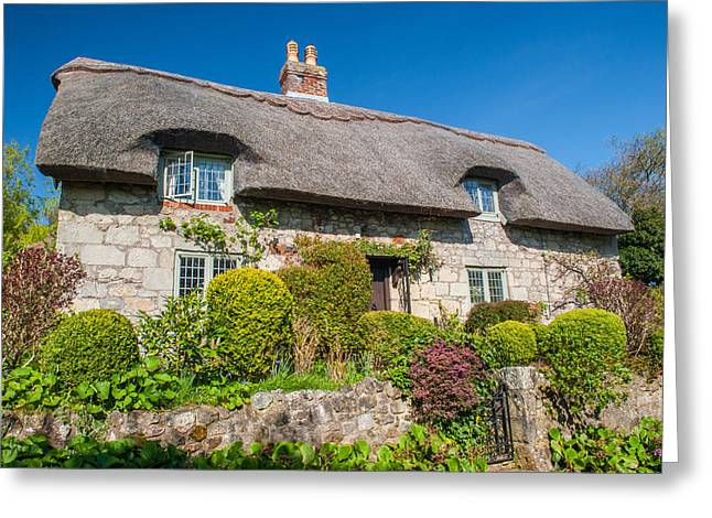 Thatched Cottage Godshill Isle Of Wight Greeting Card by David Ross