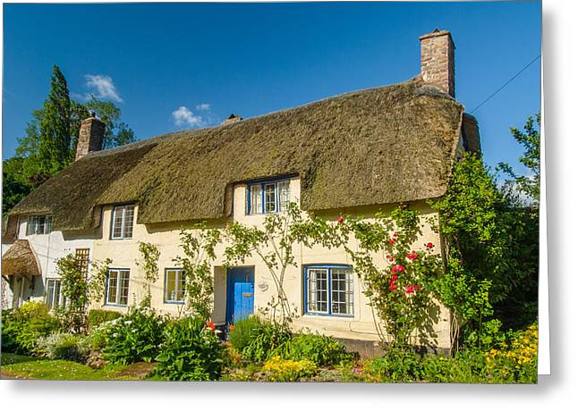 Thatched Cottage In Dunster Somerset Greeting Card by David Ross