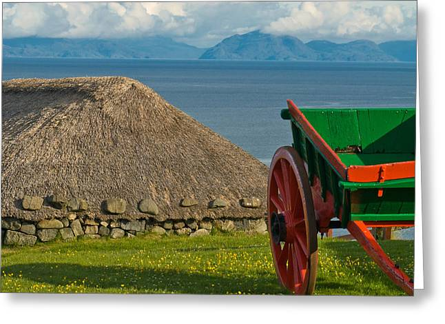 Thatched Cottage In Kilmuir Isle Of Skye Greeting Card by David Ross