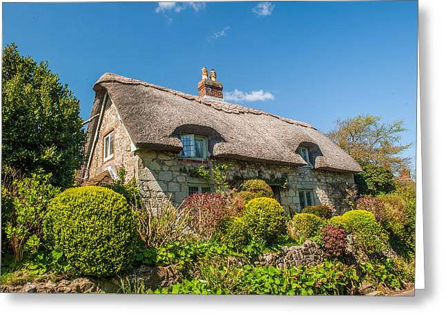 Thatched Cottage Niton Isle Of Wight Greeting Card by David Ross