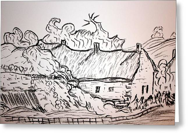 Thatched Cottage Greeting Card by Paul Morgan